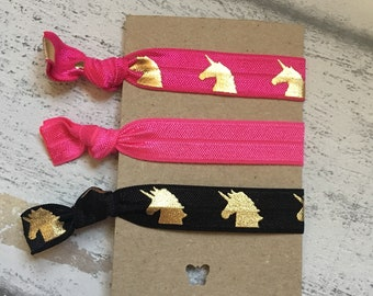Unicorn Hair Ties , Hair Bobble , Fabric Bracelet, Pink and Black