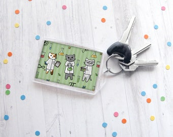 Science Cats Keychain, Nerdy Cat Keychain, Kitten Drawing, Cat Lover Gift, Funny Keychain, Any Occasion Gift, Scientific