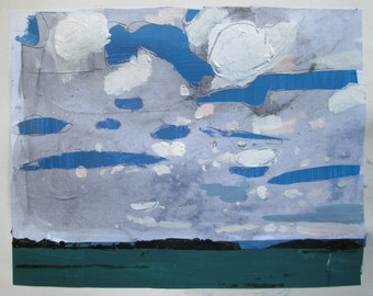 Bean Field, August 24, Original Landscape Collage Painting on Paper, Stooshinoff