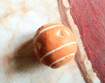 Large African Terra cotta red carved bead