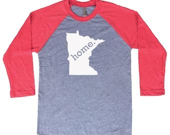 Homeland Tees Minnesota Home Tri-Blend Raglan Baseball Shirt