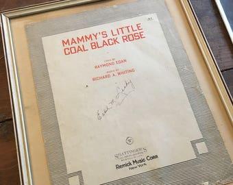 Framed Mammy's Little Coal Black Rose,Vintage/Antique