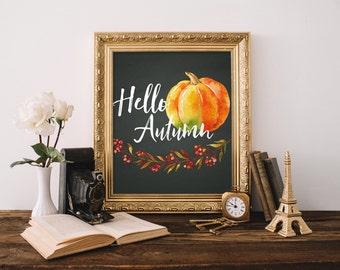 Hello Autumn Printable, Fall Art Printable, Fall Decorations, Thanksgiving Decor, Pumpkin Decor, Thanksgiving Decorations, Rustic Fall Decor