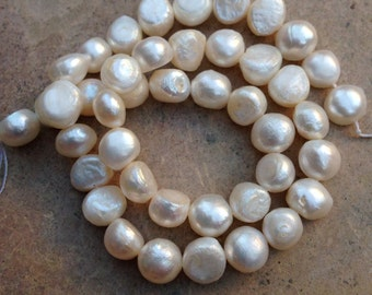 Flat Sided White Pearls, freshwater pearls, 16 inch strand, 9 mm approx.