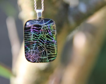 Rainbow web dichroic glass pendant 2, dichroic glass necklace, fused glass, multi fused glass pendant, dichroic necklace , multi dichroic,