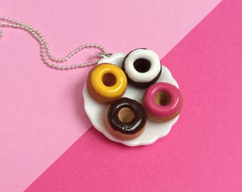Frosted Donut Plate Pendant Necklace - polymer clay miniature food jewelry
