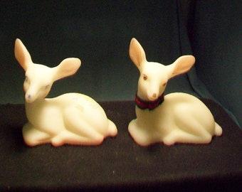 Two Fenton Hand Painted Deer Figurines