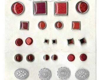 Bo Bunny Ruby Red Brads - Ruby Red Brads - Decorative Brads - Scrapbooking Brads - Embellishments - Paper Crafting Brads - Red - 4-076