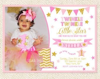 Twinkle Twinkle Little Star Invitation Girl First Birthday