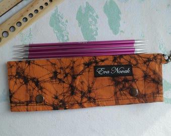 Orange DPN holder Needle holder Needle case DPN case Knitting holder Stitch holder Knitting accessories Sock knitting holder Sock knitting