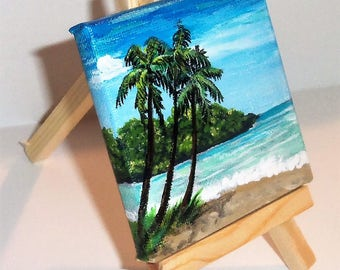 Beach Scene Original Mini Painting 3 x 3 inch Miniature Canvas with Easel FREE SHIPPING
