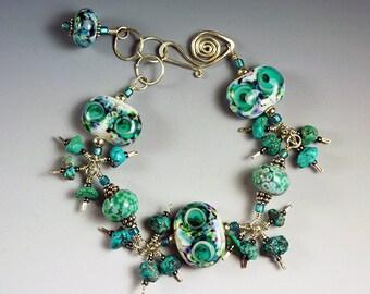 BirdDesigns Sterling Silver and Handmade Lampwork Bracelet - ooak - J601