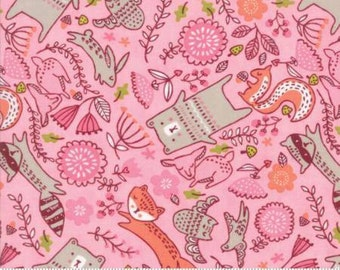 Forest Furries on Pink Cotton Woven,  Just Another Walk in the Woods by Moda