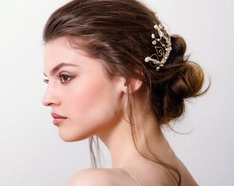 ERIFILI bridal comb hammered brass freshwater pearls Swarovski crystal beads