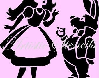 STENCIL Vintage Alice in Wonderland   10 X 10