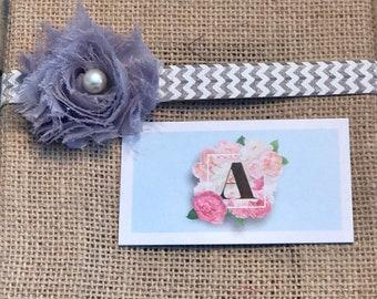 Gray chevron flower headband