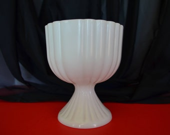 Vintage Milk Glass Pedestal Candy Dish, Bowl, Planter