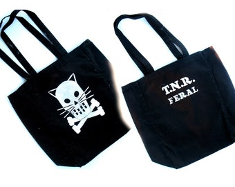 T.N.R. FERAL Black canvas Tote Bag with Kitty Crossbones -  Cattitude bag - Trap Neuter Release feral cats kittens 9 lives from Safety Thrid