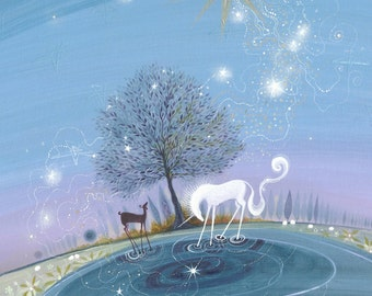 The Star.  A unicorn and a goat meet at a deep and tranquil pool under a star-burst that will lead the way on-wards.