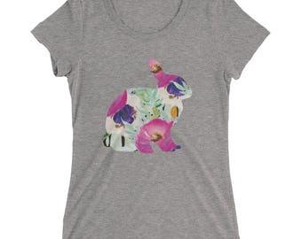 Rabbit Tshirt - Rabbit T Shirt - Bunny Tee - Graphic Tee For Women - Gift for Her - Ladies Tshirt - Triblend Tshirt