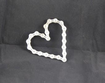 Recycled bicycle chain heart small
