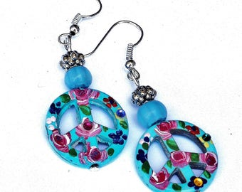 Painted Flower Turquoise Blue Peace Sign Earrings Boho Hippie Jewelry FREE SHIPPING