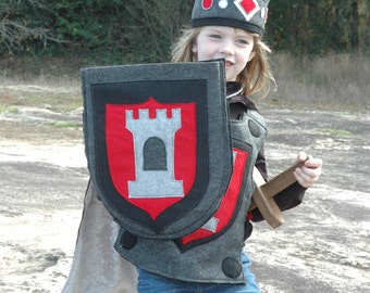 Knight Shield RED and BLACK - Halloween Costume - Kid Costume