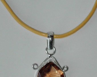 Yellow Glass pendant leather necklace (#542)