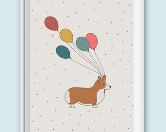 Printable Corgi Art Print - Digital Animal Illustration. Printable Corgi Home Decor. Dog Wall Art. Kids Room Decor. Nursery Wall Room Art.