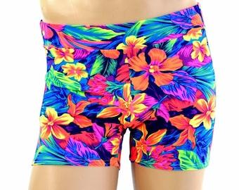 "Men's Mid Rise ""Rio"" Shorts in UV Glow Tahitian Floral Print Spandex Dude Bro Man Sexy Neon Shorts - 154588"