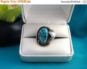 Old 925 Native Southwest Blue Turquoise Nugget Sterling Silver Ring Sz 4.5 to 4.75