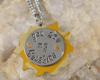 You Are My Sunshine Yellow Aluminum Sun Necklace