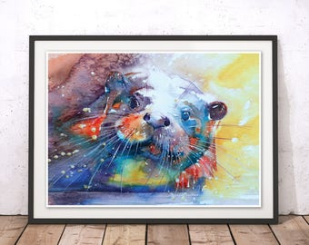 Otter Print, Otter Wall Art, River Otter Watercolour Illustration, Sea Otter Art Print by Liz Chaderton