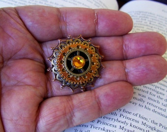 Steampunk Tie Tack (TT700), Copper and Brass Filigree Pieces and Gear, Shiny Gold Plate Gear, Swarovski Crystal