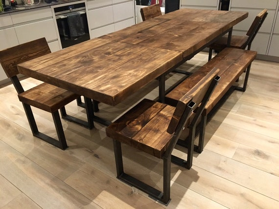 Reclaimed industrial chic 6 10 seater extending dining table for 10 seater dining table uk