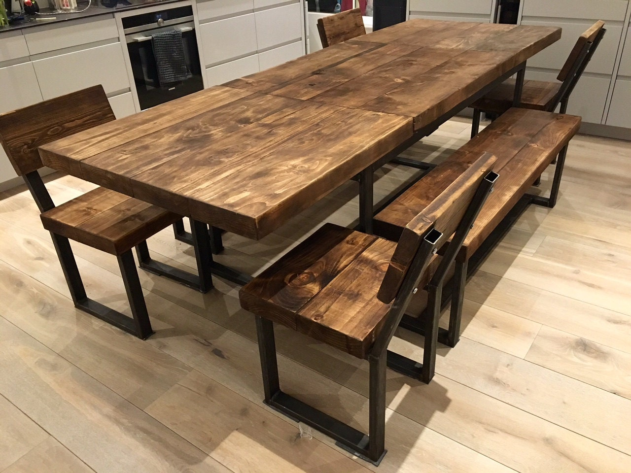 reclaimed industrial chic 6 10 seater extending dining table. Black Bedroom Furniture Sets. Home Design Ideas