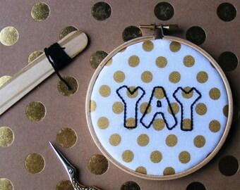 YAY, embroidery Hoop Art - Gold Polk Dots