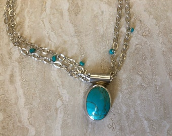 Chunky turqoise pendent necklace in sterling silver