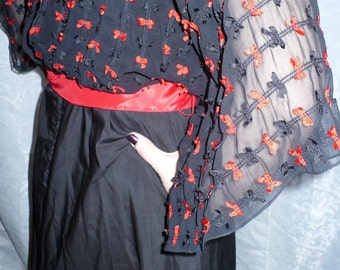 70s does 50s Seymour Levy Vintage Designer Pin Up Kitten red and Black Bows party Dress by JeansVintageCloset on Etsy