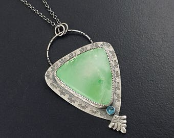 Variscite Necklace, green stone, sterling silver necklace, teardrop shape, blue topaz, boho necklace, bohemian necklace, silver green blue