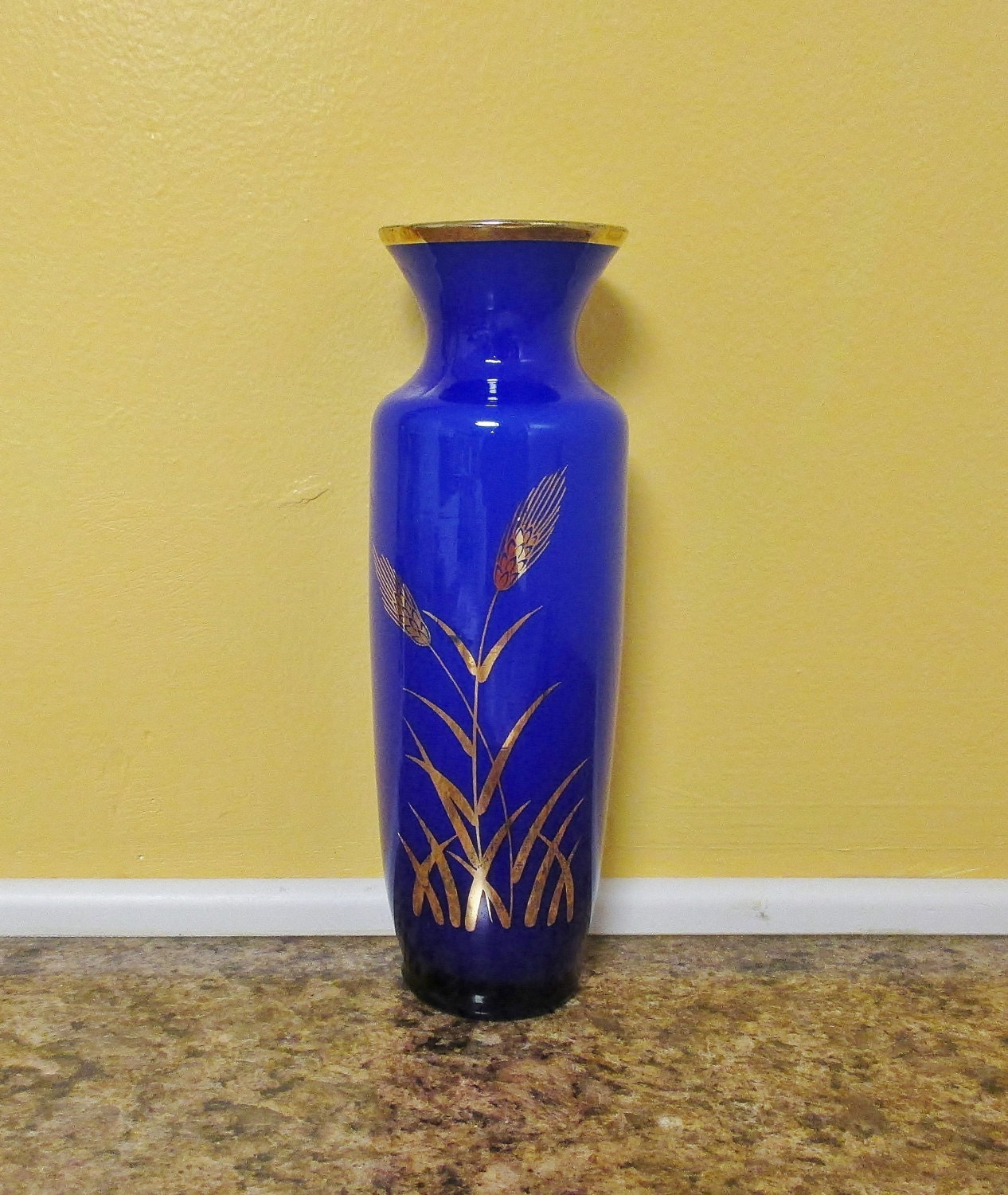 Cobalt blue glass vase with gold wheat pattern vintage zoom floridaeventfo Image collections