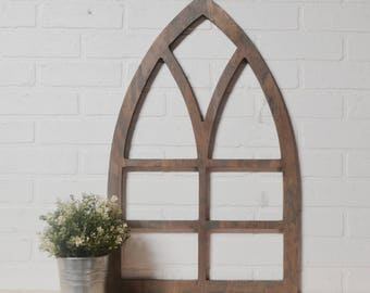 Simple Pointed Arch Cathedral Wood Window Frame