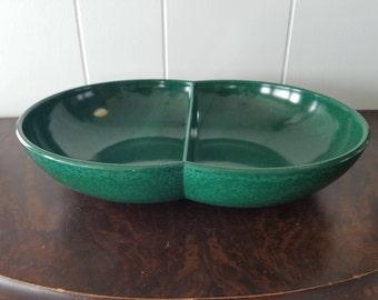 Vintage Emerald Green Melamine Divided Bowl Serving, Fruit, or Display Dish