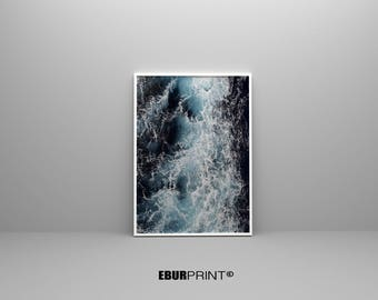 Water Wall Art, Beach Photography, Ocean Water, Printable Large Poster, Coastal Decor, Colour Photography, Instant Download, Digital PDF