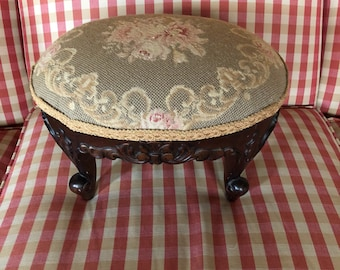 French Country Provence Peti Point Needlepoint Carved Foot Stool