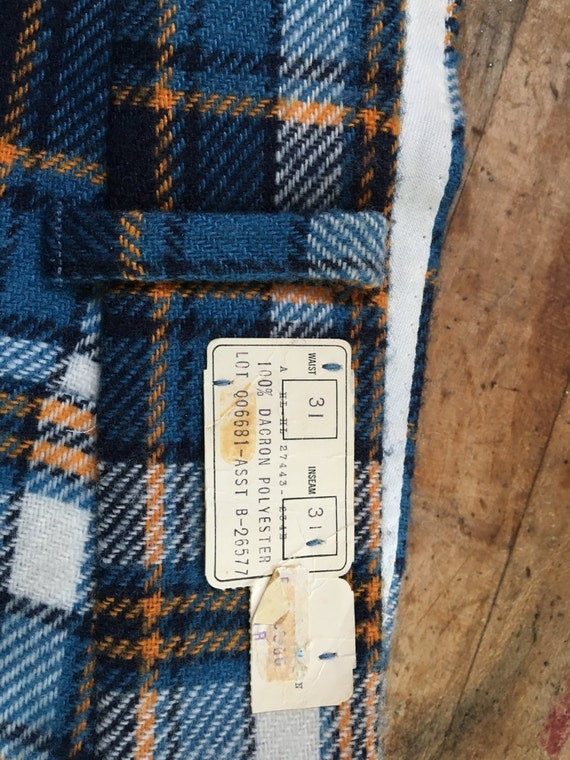 1960's ViNtaGe NeW PLaiD CaMpuS BeLLboTToms FLaRes CoLLegE CaMpuS PoLyeSteR PLaiD vintage HiPPiE GoLf CouNtRy CLuB flare LeiSuRe WeaR PaNts nJOwK