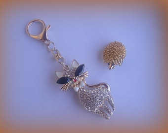 Gold Accessories: HEDGEHOG and keychain cat brooch