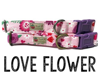 "Girly Vintage Inspired Light Pink Dark Pink Purple Floral Flowers Hearts Valentine Dog Collar - Antique Metal Hardware - ""Love Flower"""