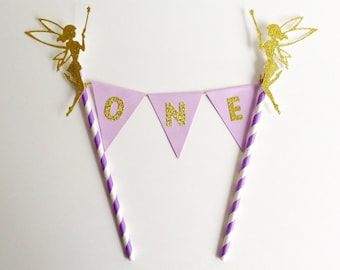 Tinkerbell Fairy 1st Birthday Bunting Cake Topper lilac and gold