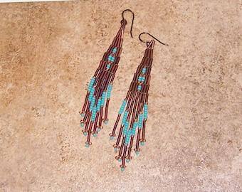 Boho Earrings, Dangle Bead Earrings, Seed Bead Earrings, Southwest Earrings